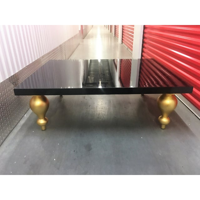 Black Lacquer Coffee Table with Gold Legs - Image 2 of 7