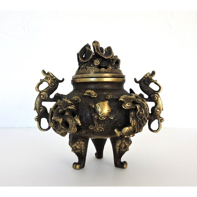 Asian Vintage Chinese Solid Brass 'Dragon' Tripod Censer, Signed For Sale - Image 3 of 8