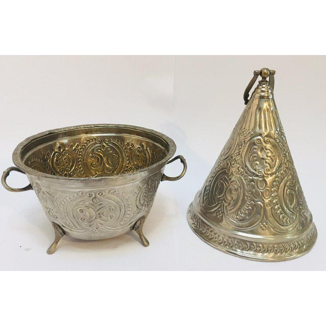 Islamic Moroccan Silver Repousse Plated Serving Dish Tajine With Cover For Sale - Image 3 of 13