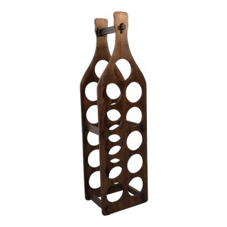 Vintage Teak Wood Wine Bottle Holder For Sale