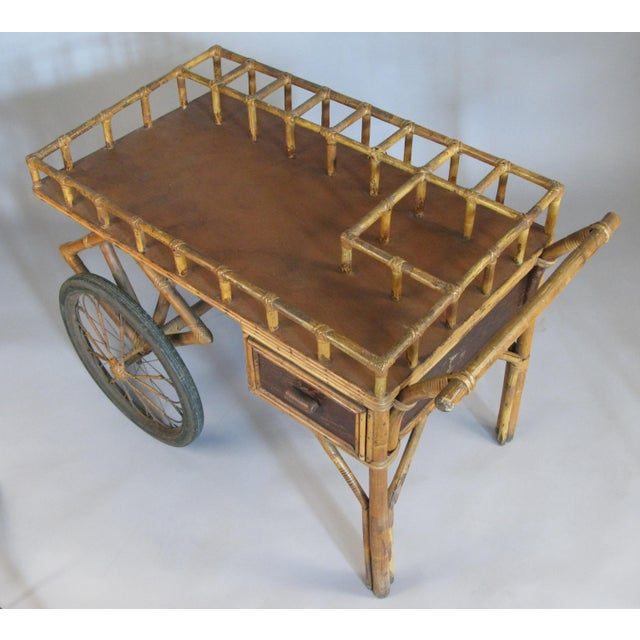 1940s Antique 1920s Rattan and Wicker Bar Cart For Sale - Image 5 of 9