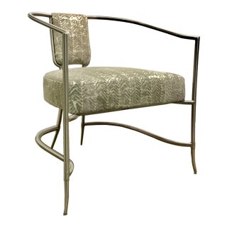Caracole Modern Gray and Nickel All the Right Lines Accent Chair For Sale
