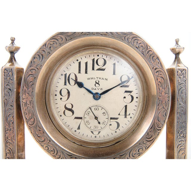 Waltham 8 Days Desk Clock With Sterling Stand - Image 2 of 9