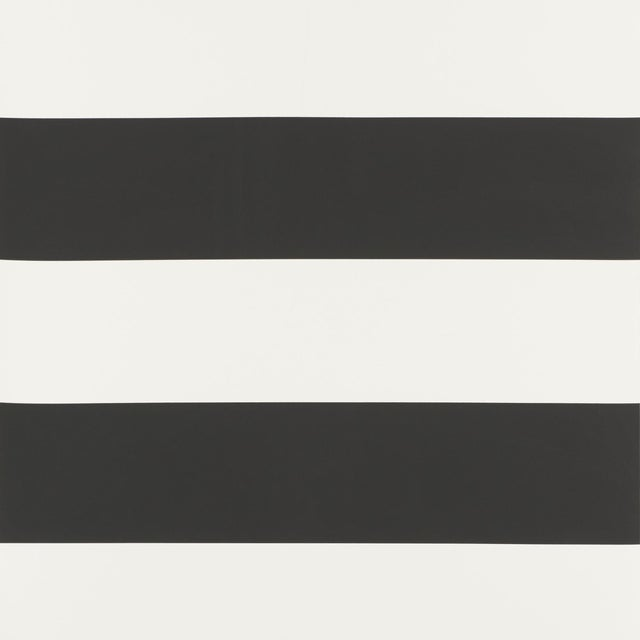 Sample - Schumacher Baxter Stripe Wallpaper in Carbon For Sale