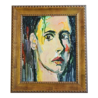Midcentury Male Abstract Portrait Painting by Willard Wiener For Sale