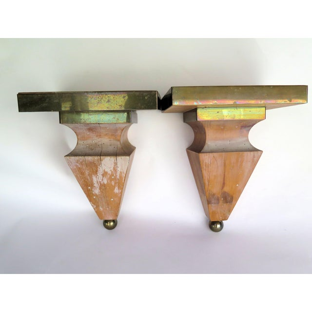 1980s 1980s Shabby Chic Brass and Pine Wood Corbels - a Pair For Sale - Image 5 of 5