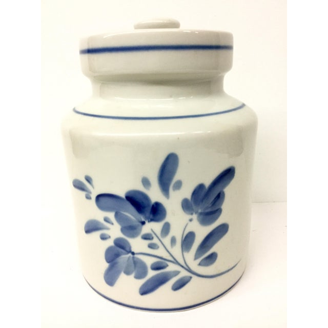 1980s Mediterranean Blue and White Cookie Jar For Sale - Image 13 of 13