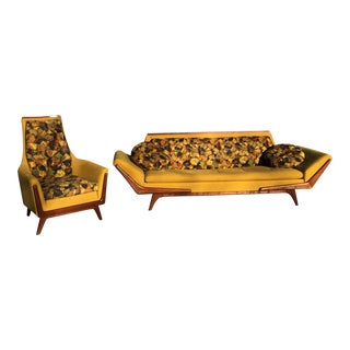 Mid-Century Rowe Gondola Style Sofa & Chair - A Pair