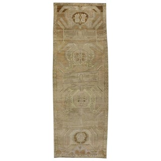 "Vintage Turkish Oushak Gallery Wide Hallway Runner Rug - 5'2"" X 14'8"" For Sale"