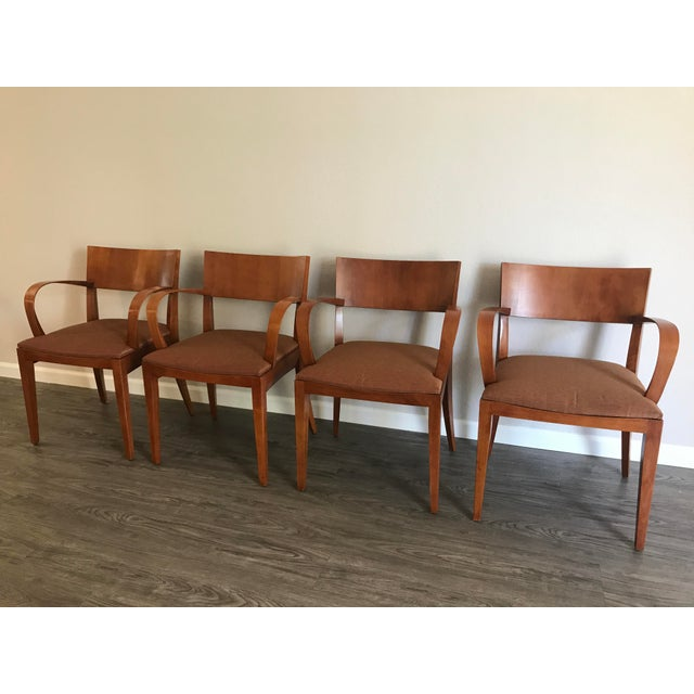 2000s Knoll Crinion Cherrywood Ribbon-Band Arm Side Chairs - Set of 4 For Sale - Image 5 of 11