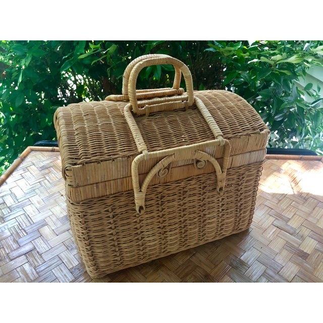 Rattan 20th Century Boho Chic Natural Woven Wicker Picnic Basket For Sale - Image 7 of 11