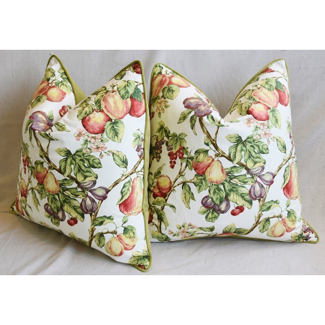 "Green P. Kaufmann Bountiful Fruit Feather/Down Pillows 24"" Square - Pair For Sale - Image 8 of 13"