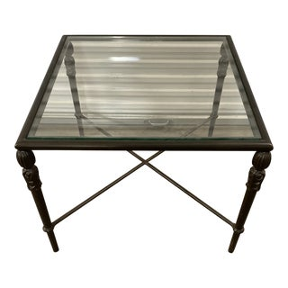 Murrays Iron Works Glass Side Table For Sale