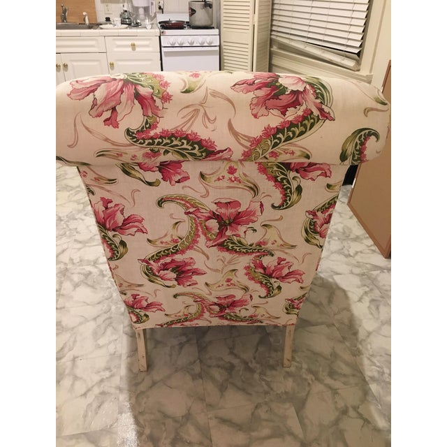 Floral Linen Armchair - Image 6 of 7