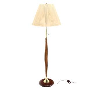Walnut and Brass Mid-Century Modern Floor Lamp For Sale