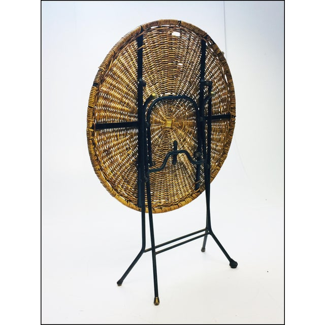 Mid Century Modern Wicker & Iron Round Folding Side Table For Sale - Image 6 of 11