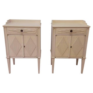 1940s Art Deco Almond Bedside Tables - a Pair For Sale