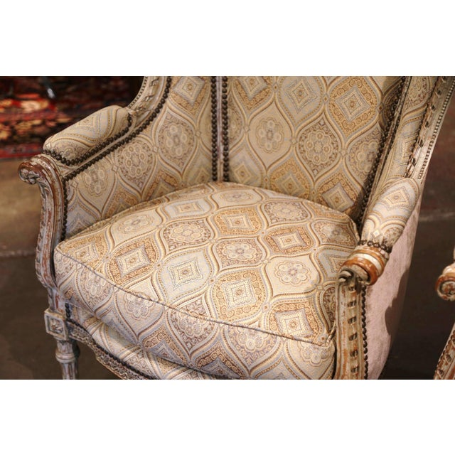 19th Century Louis XVI Carved and Painted Ear Shape Fauteuils - a Pair For Sale In Dallas - Image 6 of 13