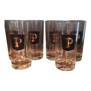 "Vintage Set of ""P"" Drinking glasses - Set of Six For Sale"