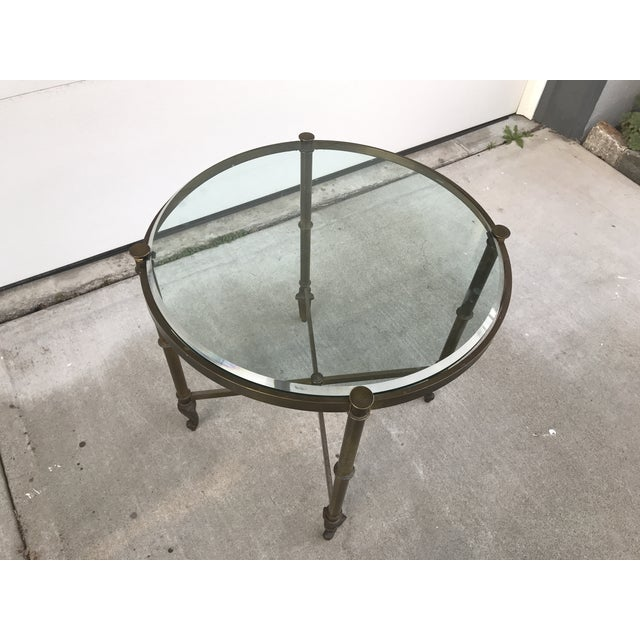 Brass Regency Style Corner Table For Sale - Image 8 of 9