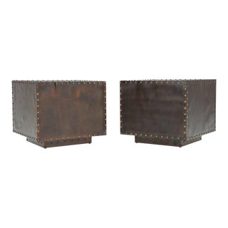 Sarreid Patinated Brass Cube Tables