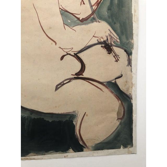 Watercolor Mid-Century Female Nude With Violin Watercolor 1960s For Sale - Image 7 of 12