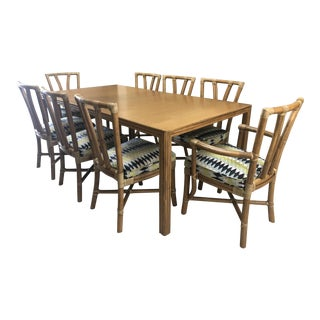 1990s Mid-Century Modern McGuire Rattan Dining Set - 9 Pieces For Sale