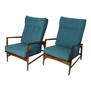 1960s Vintage Ib Kofod Larsen Reclining Lounge Chairs- A Pair For Sale