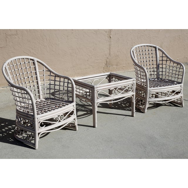 Vintage Rattan Club Chairs and Side Table - Set of 3 For Sale - Image 4 of 10