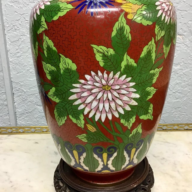 Urn Shaped Cloisonne Table Lamp For Sale - Image 4 of 10