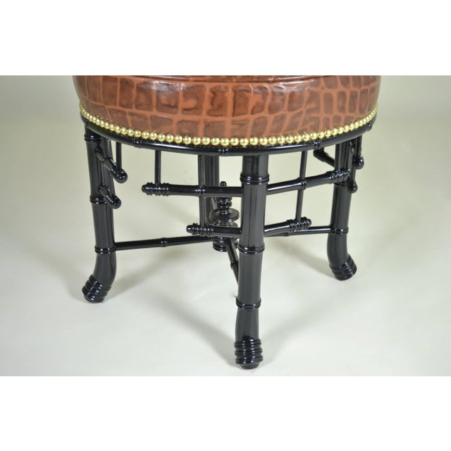 Regency Style Faux Bamboo Stool with Leather Cover For Sale - Image 4 of 7