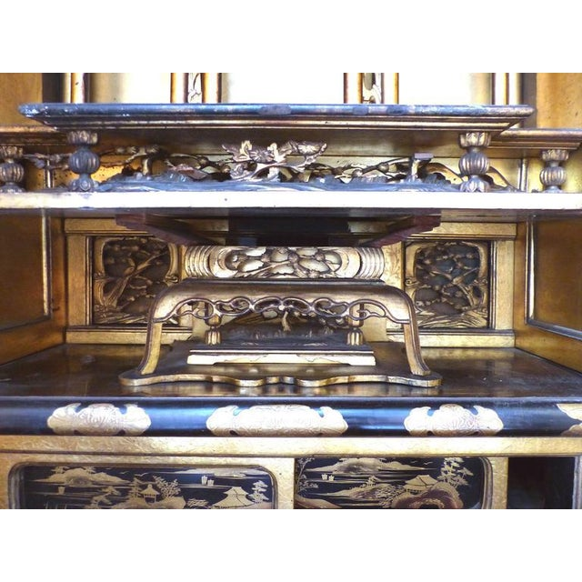 Gold Turn of the Century Monumental Japanese Buddhist Temple on Stand For Sale - Image 8 of 11