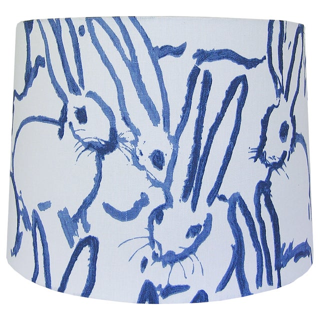 Contemporary Blue and Ivory White Rabbit Lamp Shade For Sale - Image 3 of 4