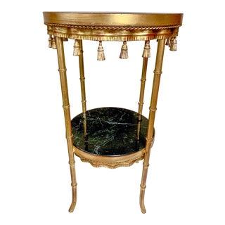 Gilt Metal Hollywood Regency Marble & Tassel Side Table For Sale