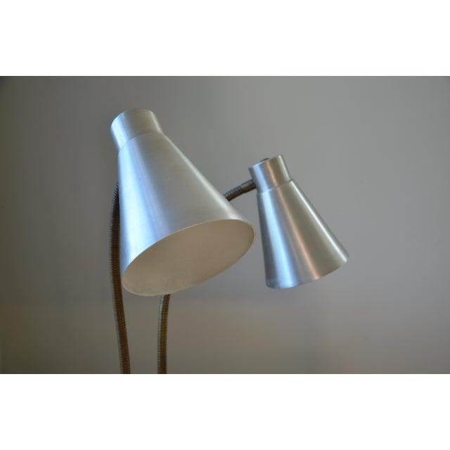 Metal Mid-Century Double Gooseneck Desk Lamp For Sale - Image 7 of 10