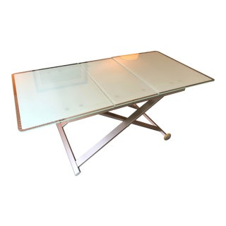 Italian Modern Adjustable Extendable Glass Coffee/Dining Table For Sale
