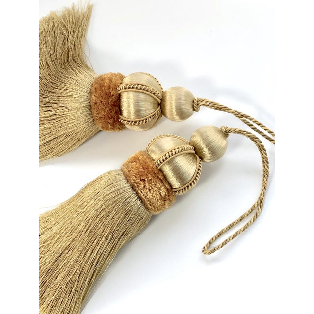 2010s Gold Key Tassels With Cut Velvet Ruche- a Pair For Sale - Image 5 of 11