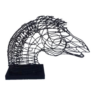 Wire Table Top Horse Head Sculpture For Sale