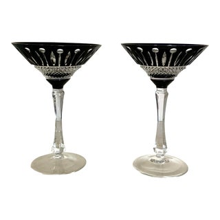 Vintage Faberge Black Luxury Crystal Xenia Martini Glasses - a Pair For Sale