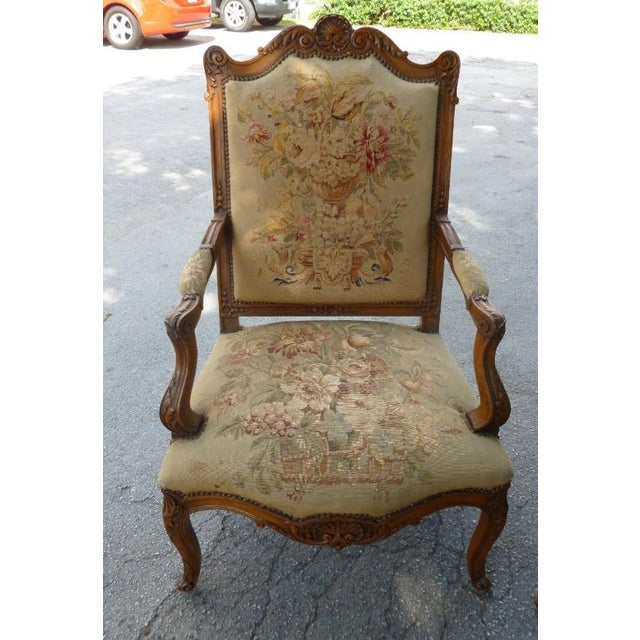 20th Century French Petit Point Needlepoint Seat Bergere Chairs - a Pair For Sale In Miami - Image 6 of 13