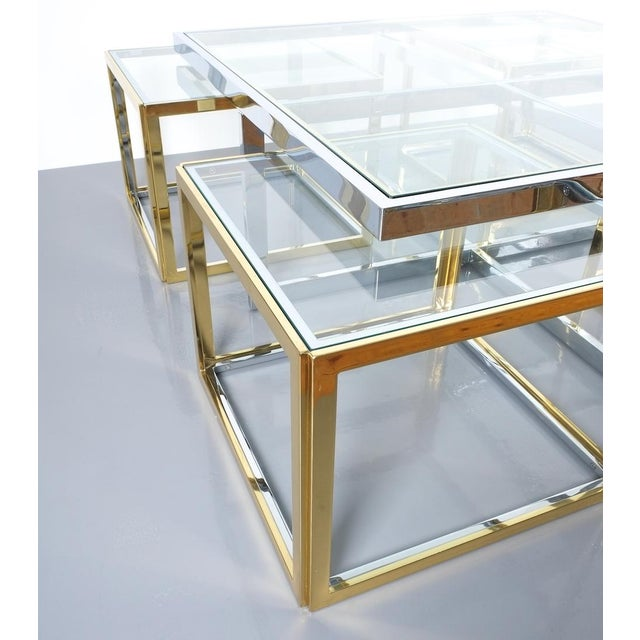 Brass Square Segment Bicolor Brass Glass Coffee Table by Maison Charles, France 1975 For Sale - Image 7 of 13