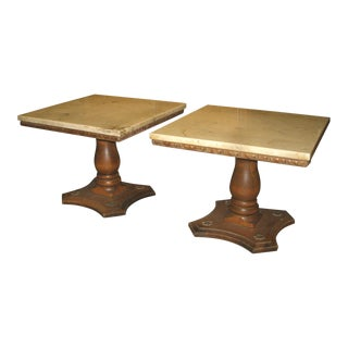 Traditional Marble Top Pedestal Cocktail Tables - a Pair For Sale