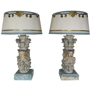 Pair of Custom Painted Carved Cherub Lamps With Painted Parchment Shades For Sale