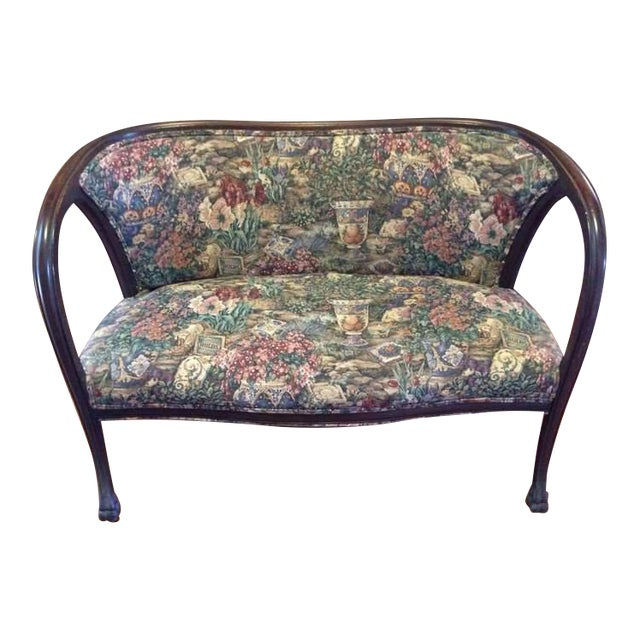 Vintage Carved Walnut Floral Upholstered Setee - Image 1 of 7