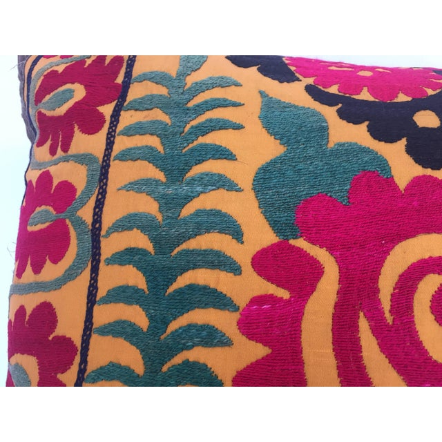 Large Vintage Colorful Suzani Embroidery Throw Pillow For Sale - Image 11 of 13