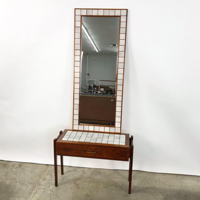 Danish Modern Danish Rosewood & Tile Vanity For Sale - Image 3 of 11
