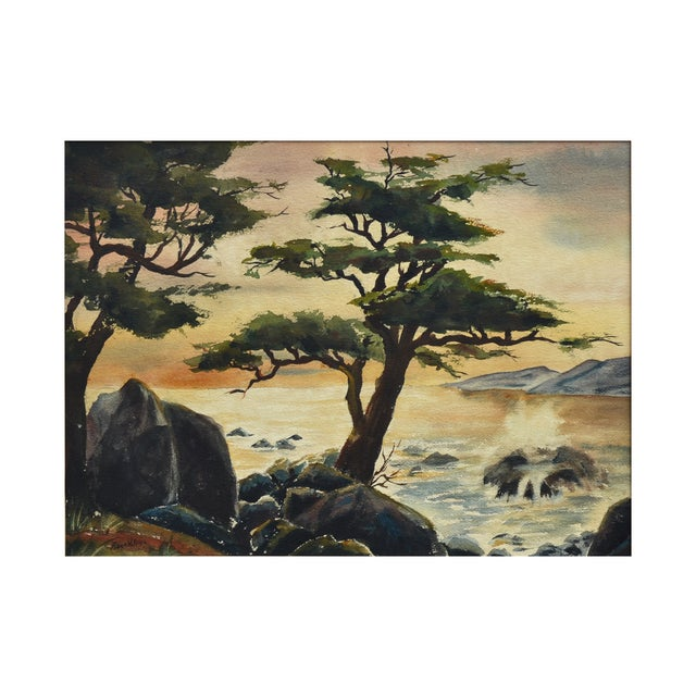"""Watercolor of the Point Lobos sunset by Robert W. Price, a Pacific Grove watercolorist. Signed lower left """"Robert W...."""