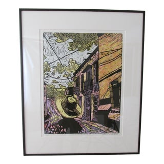 1980s ''My Father in Mexico'' Michael Robbins Linocut Print For Sale