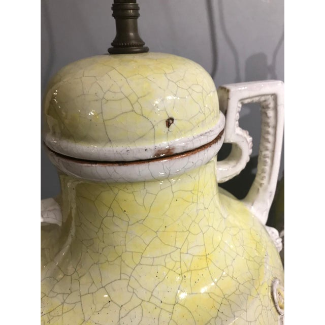 Orange Italian Majolica Urn Lamps in Pale Yellow, C. 1960s - a Pair For Sale - Image 8 of 11