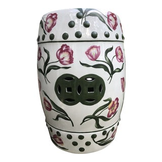 Handpainted Ceramic Pink Tulips Garden Stool For Sale